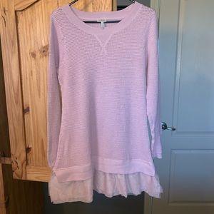 Cotton cashmere tulle hem sweater